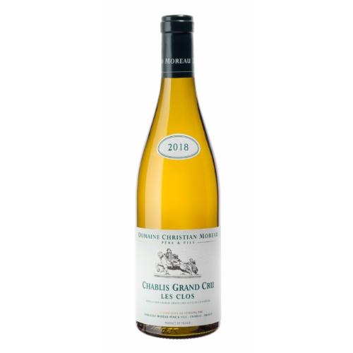 DOMAINE CHRISTIAN MOREAU Chablis Les Clos Grand Cru 2018 - Fehér bor - Chablis leghíresebb terroirja a Les Clos, ez a Grand Cru déli fekvésű és Kimmeridgien talajjal rendelkezik, nagyon sziklás, fehér és sűrű agyaggal.