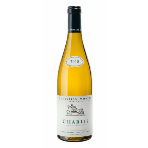 DOMAINE CHRISTIAN MOREAU Chablis 2018 - Pneumatikus présselés után természetes élesztővel kb 20 C- on erjesztik 100%-ban rozsdamentes acéltartályokban. Fehér bor
